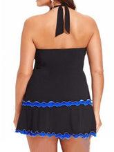 Tie Collar  Plain Plus Size Swimwear
