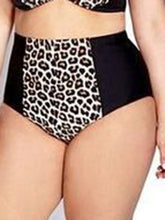 Tie Collar  Leopard Plus Size Swimwear