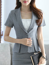 Notch Lapel  Single Button  Plain  Short Sleeve Blazers
