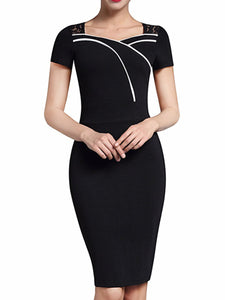 Square Neck  Plain Lady Bodycon Dress