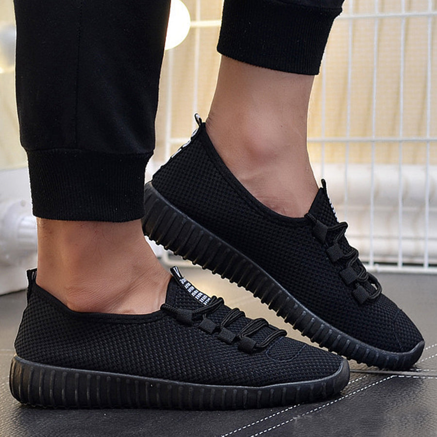 Plain  Flat  Criss Cross  Round Toe  Casual Run Sneakers