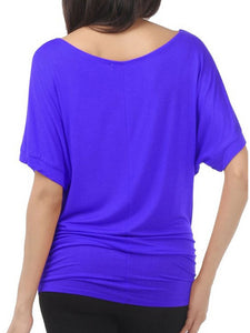 Summer  Polyester  Women  Round Neck  Plain  Batwing Sleeve Short Sleeve T-Shirts