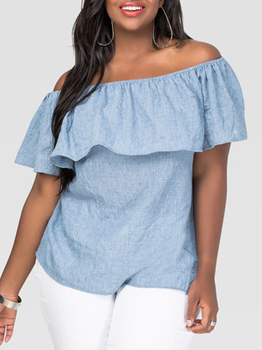 Off Shoulder  Flounce  Plain Plus Size Blouses