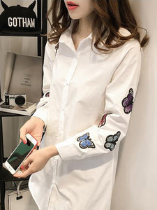 Turn Down Collar  Patchwork  Embroidery Patchwork Blouses