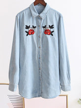 Polo Collar  Embroidered Single Breasted Blouses