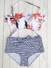 Floral Striped One Piece Swimwear
