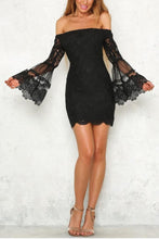 Open Shoulder  Decorative Lace  Plain  Bell Sleeve  Long Sleeve Bodycon Dresses