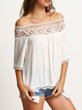 Spring Summer  Polyester  Women  Off Shoulder  Decorative Lace See-Through  Plain  Half Sleeve Blouses