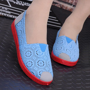 Color Block Hollow Out  Flat  Lace  Round Toe  Casual Flat & Loafers