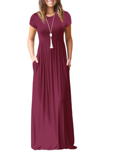 Round Neck  Patch Pocket  Plain Maxi Dress