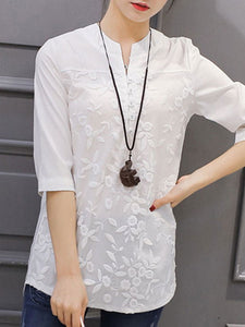 Spring Summer  Cotton  Women  V-Neck  Decorative Button  Three-Quarter Sleeve Blouses