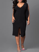 V-Neck  Slit  Plain Plus Size Bodycon Dresses