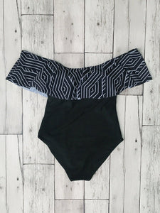 Laser Cut Off Shoulder Ruffle Striped Swimsuit