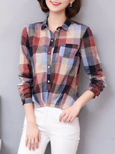Autumn Spring  Cotton  Women  Turn Down Collar  Asymmetric Hem  Printed  Long Sleeve Blouses