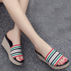 Color Block Striped  High Heeled  Peep Toe  Casual Slippers