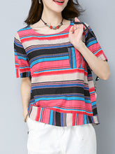 Spring Summer  Cotton/Linen  Women  Round Neck  Patch Pocket  Striped  Short Sleeve Blouses