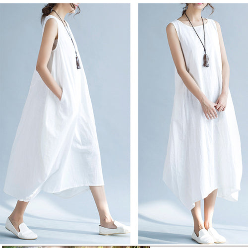Vintage Casual And Comfortable Large Size Loose Dress Vacation Dress