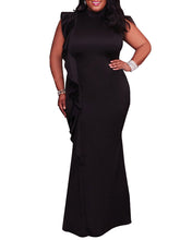 High Neck  Flounce  Plain Plus Size Bodycon Dresses