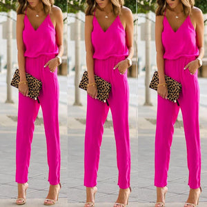 Fashion Pure Color Strap Sleeveless Jumpsuit