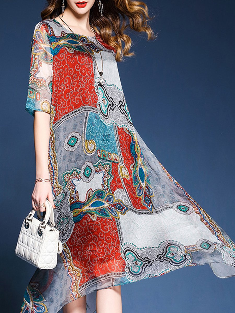 Asymmetric Neck  Printed Maxi Dress