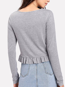 Autumn Spring  Polyester  Women  Round Neck  Flounce  Plain Long Sleeve T-Shirts