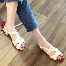 Plain  Flat  Ankle Strap  Peep Toe  Casual Sandals