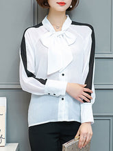 Autumn Spring  Polyester  Women  Tie Collar  Bowknot  Plain  Long Sleeve Blouses