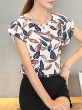 Summer  Polyester  Women  Round Neck  Floral Leaves Printed  Extra Short Sleeve Blouses