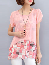 Summer  Polyester  Women  Round Neck  Asymmetric Hem  Fake Two-Piece  Abstract Print  Extra Short Sleeve Blouses