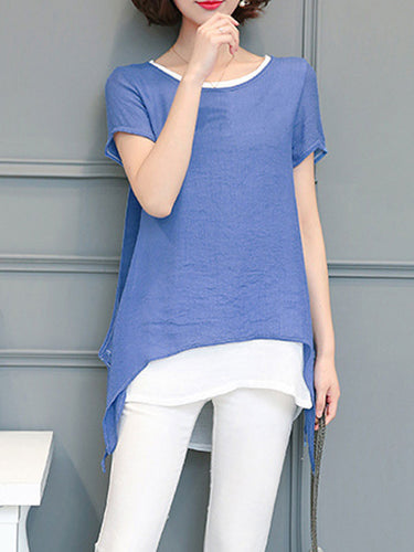 Summer  Polyester  Women  Round Neck  Asymmetric Hem  Fake Two-Piece  Plain  Short Sleeve Blouses