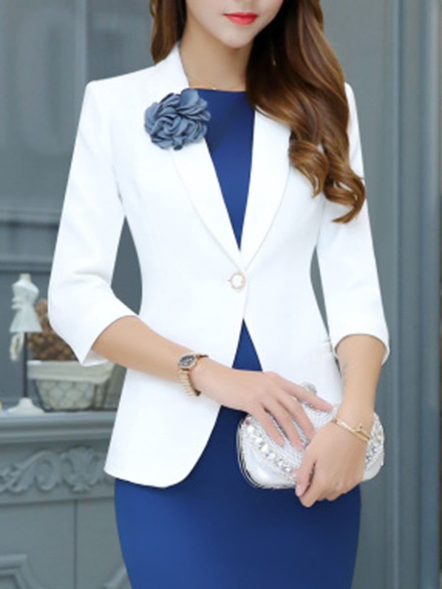 Notch Lapel  Single Button  Plain  Three-Quarter Sleeve Blazers