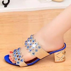 Hollow Out  Chunky  High Heeled  Peep Toe  Casual Date Slippers
