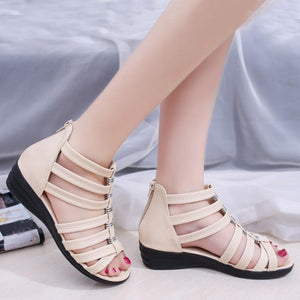Plain  Low Heeled  Peep Toe  Casual Sandals