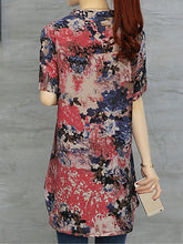 Spring Summer  Cotton  Women  Asymmetric Hem  Printed  Short Sleeve Blouses