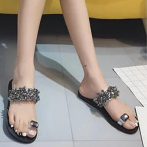 Plain  Flat  Peep Toe  Beach Casual Slippers
