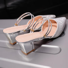 Chunky  Mid Heeled  Ankle Strap  Point Toe  Date Event Pumps