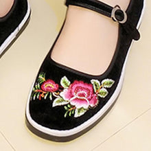 Embroidery Floral  Flat  Cotton  Ankle Strap  Round Toe  Casual Flat & Loafers
