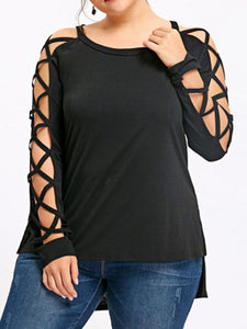Round Neck  Cutout  Hollow Crossing Plain  Long Sleeve Plus Size T-Shirts