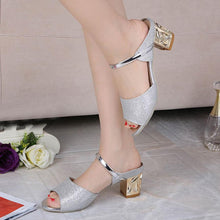 Chunky  Mid Heeled  Peep Toe  Casual Date Slippers