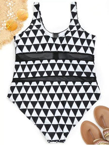 Mesh Panel Geometric Pattern Plus Size Swimwear
