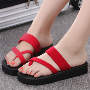 Plain  Low Heeled  Velvet  Peep Toe  Beach Casual Slippers