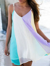 Spaghetti Strap  Color Block Shift Dress