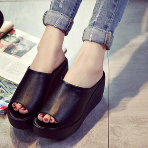 Plain  High Heeled  Peep Toe  Casual Slippers