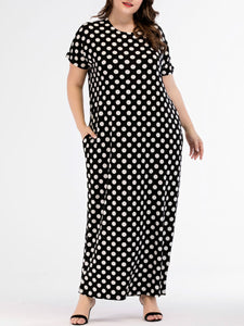 Round Neck  Polka Dot Plus Size Midi & Maxi Dresses