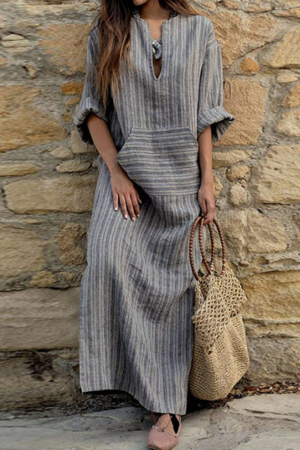 V Neck  Kangaroo Pocket  Striped  Three Quarter Sleeve Maxi Dresses