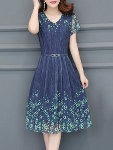 Elegant V-Neck Floral Printed Chiffon Skater Dress
