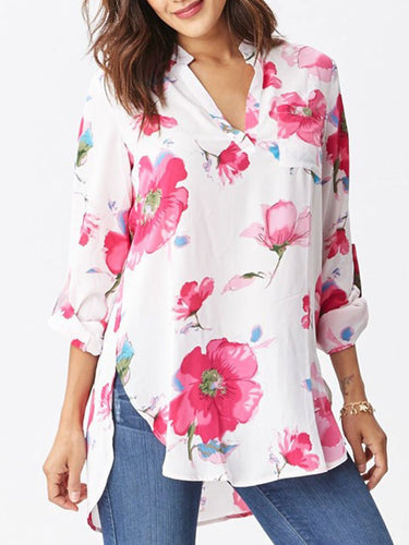 Autumn Spring  Cotton  Women  V-Neck  Asymmetric Hem  Floral Printed  Long Sleeve Blouses