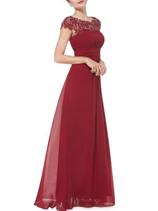 Round Neck Patchwork Ruched  Hollow Out Plain Evening Dress