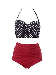 Polka Dot Striped  High-Rise Bikini