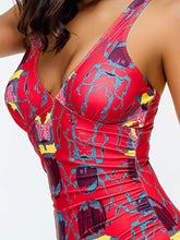 Deep V-Neck  Backless  Printed One Piece For Women
